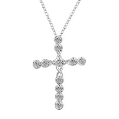 Hot CROSS Necklace Women Silver Platedr Crystal Necklace Jewelry (Intl)