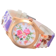 Hot Fashion Wristwatch Silicone Printed Flower Casual Watch For Ladies Quartz Watches Women Dress Watch New