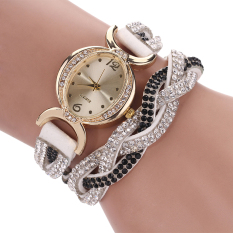 Hot Selling Casual Style Fabric Bracelet Rhinestone Wristwatch White (Intl)
