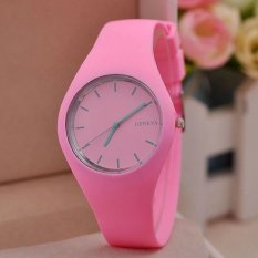 Hot Selling Fashion Simple Style Geneva Silicone Quartz Watch Jelly Women Dress Watches Feminine Pink