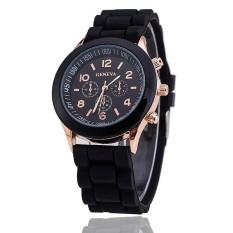 Hot Selling Silicone Geneva Watch Casual Quartz Women Wristwatch (Black) (Intl)