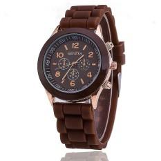 Hot Selling Silicone Geneva Watch Casual Quartz Women Wristwatch (Brown) (Intl)