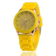Hot Selling Silicone Geneva Watch Casual Quartz Women Wristwatch (Yellow) (Intl)