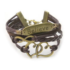 Hotsell Cute Believe Infinity Double Hearts Antique Bronze PU Leather Bracelet