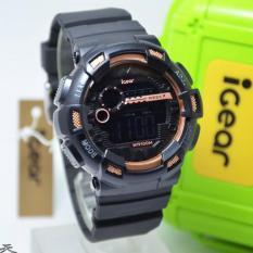 IGear Digital - Jam Tangan Sport Pria - Rubber Strap - IGear I03 Black Gold