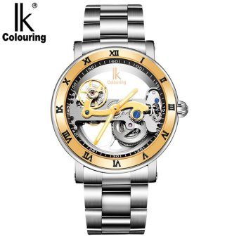IK colouring Hollow Skeleton Automatic Mechanical Watches Mens Top Brand Luxury Business Full Steel Wristwatch Clock Hour Silver Strap - intl
