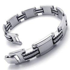 ILife Jewelry Mens Stainless Steel Rubber Bracelet Polished Links Wrist Silver Black