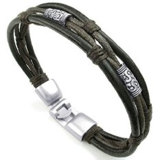 ILife KONOV Jewelry Mens and Womens Leather Rope Bracelet, Tribal Braided Cuff Bangle Brown Black Silver