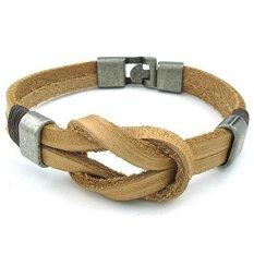 ILife KONOV Jewelry Men's Women's Leather Bracelet Love Infinity Symbol Cuff Bangle (Brown)