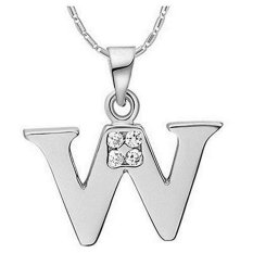 ILife NYKKOLA Fashion Jewellery 925 Silver Clear Crystal Initial Letter W Alphabet Charm Necklace Silver