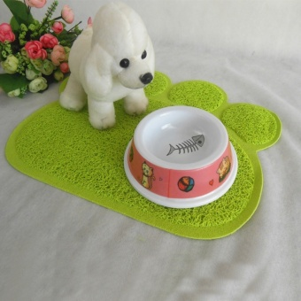 Cute Paw Shape Pets Feet Mat Placemat PVC Radiating Dog Cats Sleeping Feeding Pads (Red) - Intl