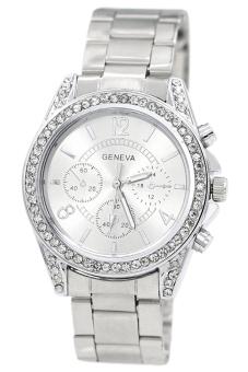 Geneva 640135 Jam Tangan Wanita Crystal Embellished Dial - Silver. >>>>