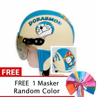 harga Toserba - Helm Anak Lucu Usia 1-4 Tahun Karakter Doraemon - Cream/Biru + Free Masker Mulut Lazada.co.id