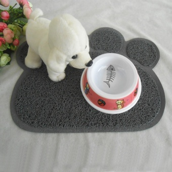 Cute Paw Shape Pets Feet Mat Placemat PVC Radiating Dog Cats Sleeping Feeding Pads (Sky Blue) - Intl