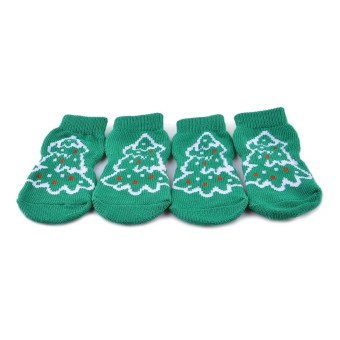 ZUNCLE Christmas Tree Pattern Christmas / New Year Socks for Pet Cat / Dog - White + Green (Size XL / 4 Pcs) - Intl - intl