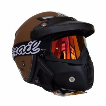 harga Helm JPN Momo With SNAIL Goggle Mask Retro Klasik Jap Style Motocross Shark Raw Visor Rainbow Brown Black Doff Plus PET Lazada.co.id