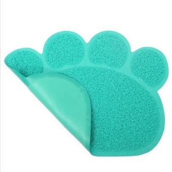 Cute Paw Shape Pets Feet Mat Placemat PVC Radiating Dog Cats Sleeping Feeding Pads (Green) - Intl