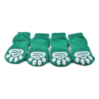 ZUNCLE Christmas Tree Pattern Christmas / New Year Socks for Pet Cat / Dog - White + Green (Size M / 4 Pcs) - Intl - intl