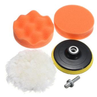 harga 5Pcs 4Inch Gross Polishing Sponge Pads Buffer Mops + M10 Thread Drill For Car Polisher - intl Lazada.co.id