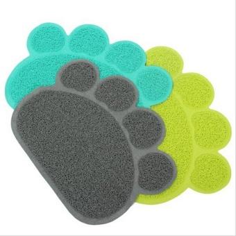 Cute Paw Shape Pets Feet Mat Placemat PVC Radiating Dog Cats Sleeping Feeding Pads (Grey) - Intl