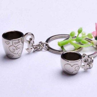 harga Couple Coffee Cup Heart Engraved Key Chains - gantungan kunci Couple Lazada.co.id