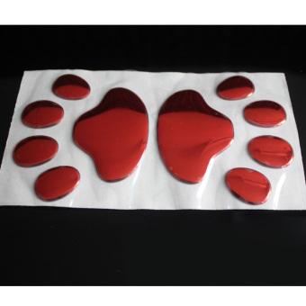 harga 1 pasang jejak kaki anjing 3D PVC stiker mobil Nick menutupi stiker (Merah) Lazada.co.id
