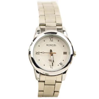 Yika Women Date Stainless Steel Band Quartz Wrist Watch (White)
