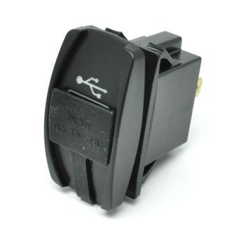 USB Charger Motor 2 Port DC 12-24V - Black