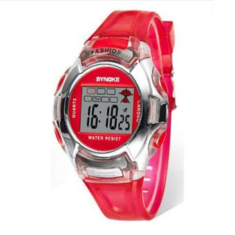 Synoke 99329 mahasiswa perhiasan jam tangan digital elektronik lampu malam Tahan Air Olahraga perhiasan (Merah)