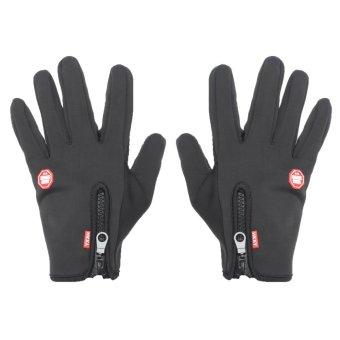 Windproof Touch Screen Outdoor Sport Gloves Ski Men Unisex Winter Warm Mittens L Black - intl