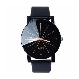 AceWin 653488 Men Stainless Steel Faux Leather Quartz Analog Wrist Watch - Black