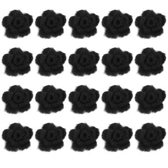 20pcs 3-layer 5cm Handmade Crochet Flowers Appliques Sewing Craft (Black)