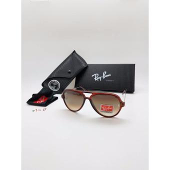 Kacamata Rayban 4125 Lensa Kaca Coklat Bingkai Merah
