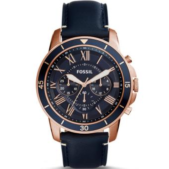 Fossil Jam Tangan Pria Fossil FS5237 Grant Sport Chronograph Blue Leather Watch. >>>>