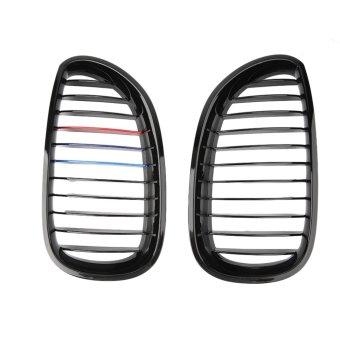 Allwin mengkilap hitam warna M kisi-kisi Grill depan menyisipkan ginjal cocok untuk BMW E60 E61 M5 (International)