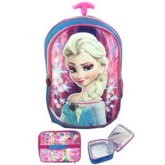BGC Frozen Fever Elsa 3D Timbul Tas Troley Sekolah Anak TK + Lunch Bag Aluminium Tahan. >>>>