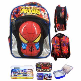 BGC Tas Ransel Sekolah Anak TK Spiderman 3D Timbul IMPORT +…