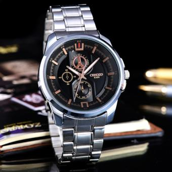 Tangan Pria - Body Silver - Black Dial - Stainless steel band.