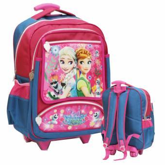 harga Onlan Tas Trolley Anak Sekolah SD Ukuran Besar Karakter Frozen Fever Bahan Saten - Blue Lazada.co.id