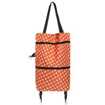 Trolley Bag Polkadot Cart/Tas Troly Troli Keranjang Lipat - Orange