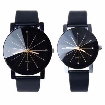 Harga Jam Tangan Quartz 1 Pair Pria dan Wanita Strap Kulit PU Men Women Stainless Steel Leather Couple Watch Murah