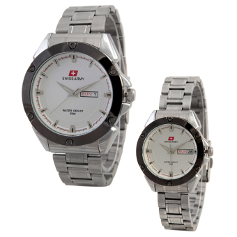Harga Swiss Army Couple Watch Stainless Steel Sa 6077 Silver Jam .