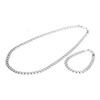 harga WiseBuy haid 18 KB putih emas gelang kalung Set untuk Mengisi Men Fashion Lazada.co.id