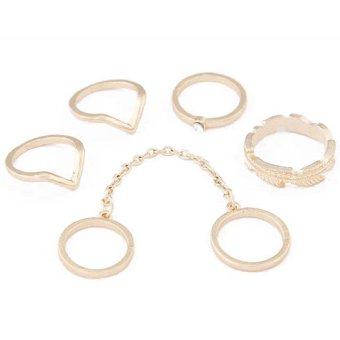 harga Tone Stack Above Knuckle Cute Leaves Crystal Midi Band Rings Set Gold(Intl) Lazada.co.id