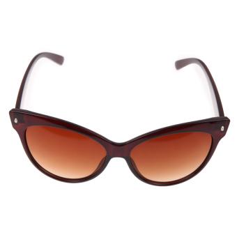 Hot Fashion Retro Klasik Mata Kucing Warna Bingkai Kacamata Hitam UV400  Unta (Coklat) c3337bdfc1
