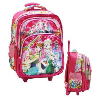 harga Onlan Disney Frozen Fever Flower 5D Timbul Hologram Tas Trolley Ukuran SD ada 5 Kantung Besar Import - Pink Lazada.co.id