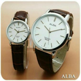 Harga Terbaru Alba - Jam Tangan Couple Leather Strap White Plat