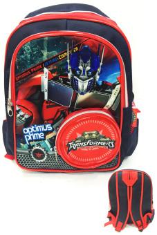 BGC Transformer Optimus Prime Kantung Depan Full Saten IMPORT Tas Ransel Anak Sekolah TK