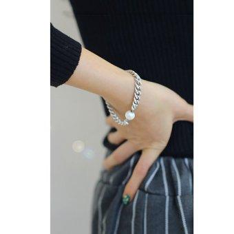 Cocotina Fashion Wanita Imitasi Pesona Mutiara Perhiasan Perak Nada Gelang Rantai. >>>>