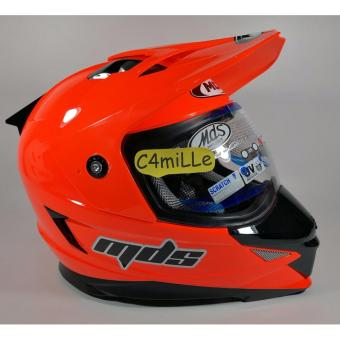 harga HELM MDS SUPER PRO SOLID RED FLUO DOUBLE VISOR CROSS TRAIL Lazada.co.id